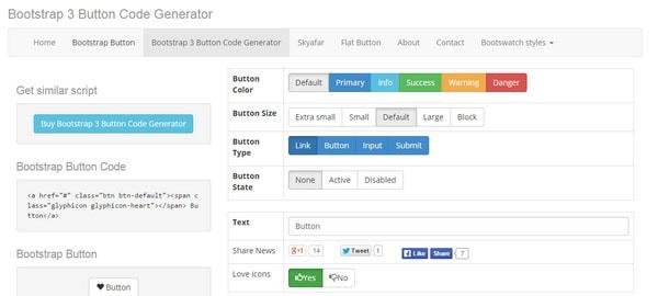 Trình tạo mã Bootstrap 3 Nút