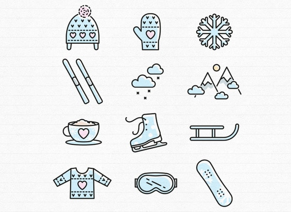 Winter time icon set by Inna Moreva