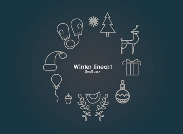 Winter line icons by An Nowak
