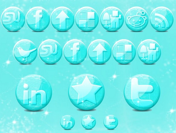 Free Glossy Ice Social Media Icons by Raluca