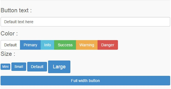 Bootstrap button generator Online