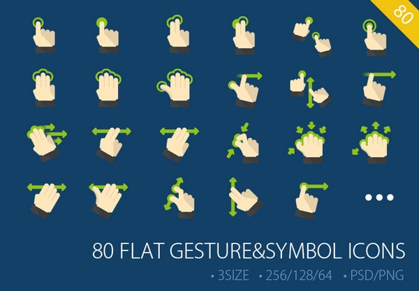 80 Flat Gesture&symbol ICONs by DW