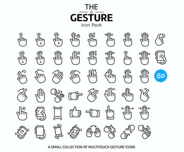 50 multitouch gesture icons by 2Bundles