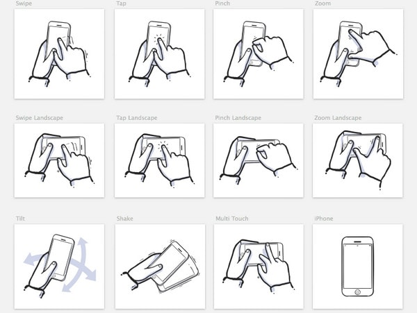 iPhone Gestures Sketch 3 Symbols by Suleiman Leadbitter