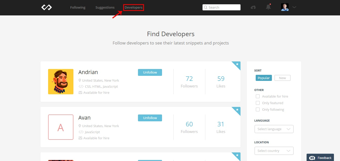 Codepad Following developers
