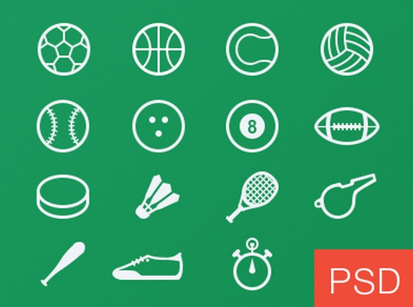Sport glyph vector icons freebie