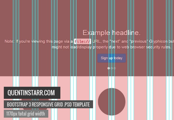 Bootstrap 3 Responsive Grid Psd Template by Quentin Starr