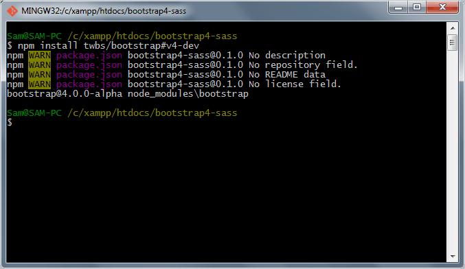 Installing Bootstrap 4 via npm