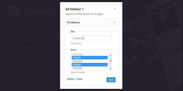 Grimag responsive Ad Sense settings