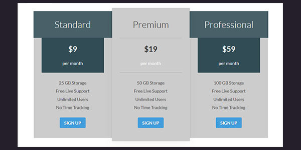 Grimag pricing table shortcode