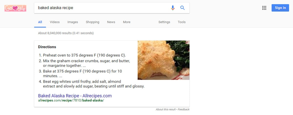 Recipes Google