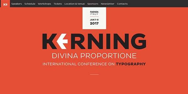Kerning, the international typography conference homepage screenshot