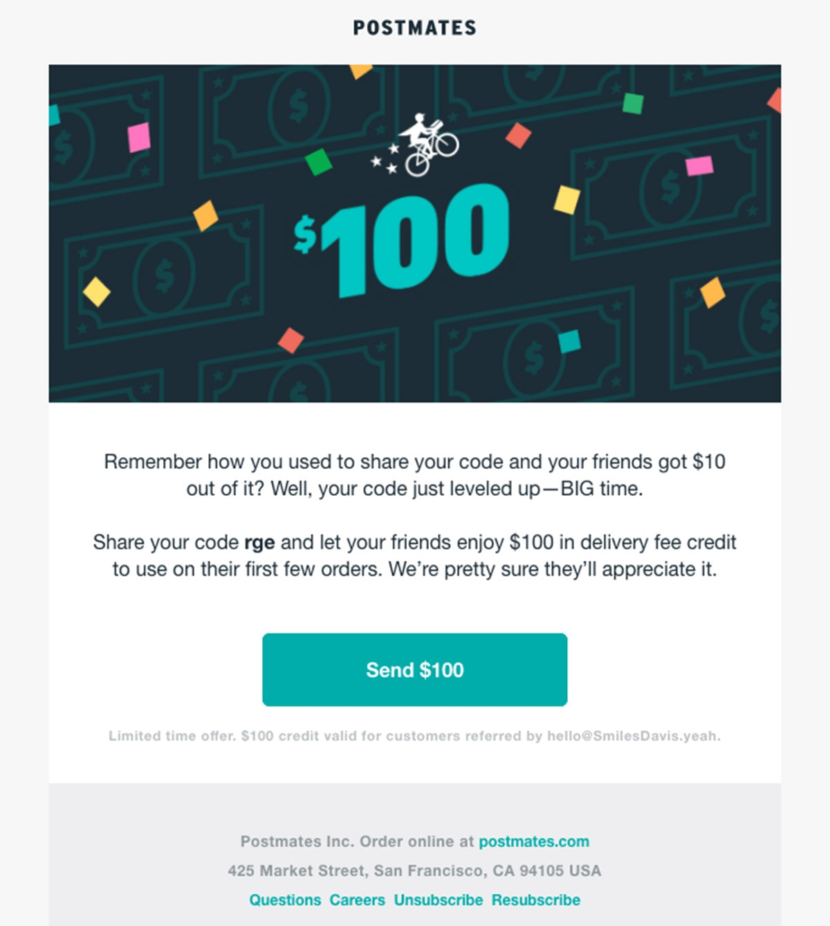 Postmates Newsletter