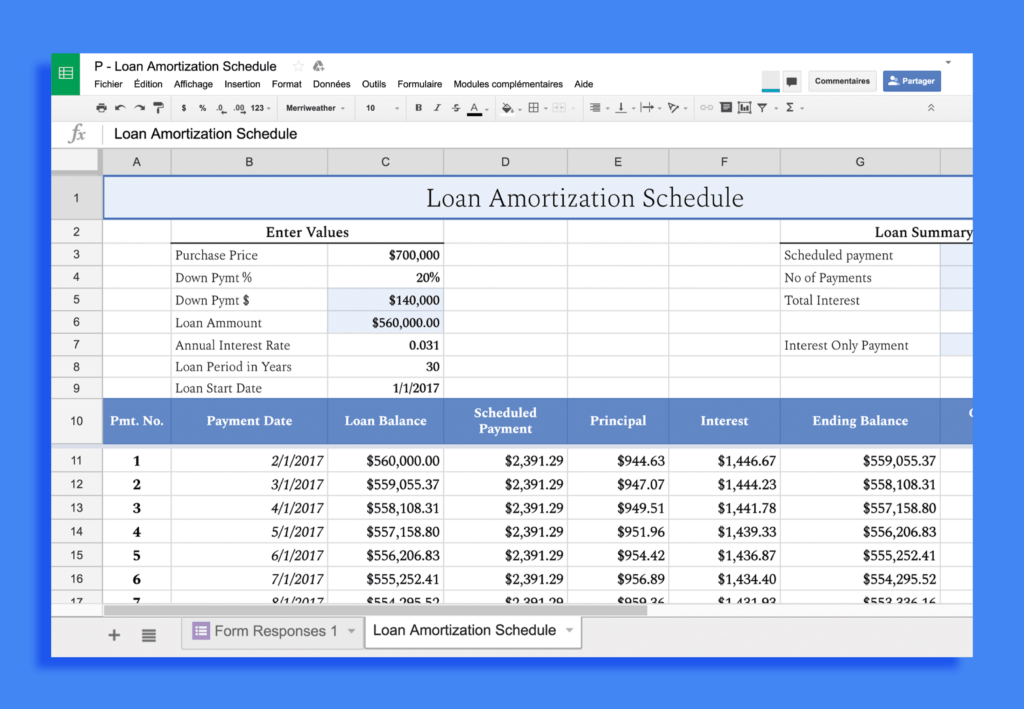 Showcase Spectral font in a spreadsheet
