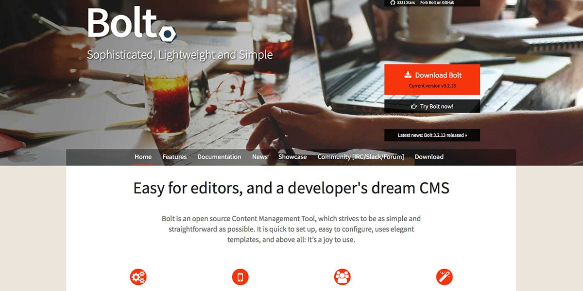 Bolt CMS Homepage