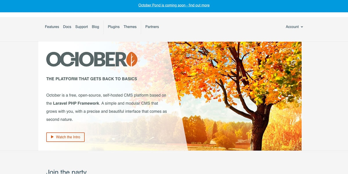 October CMS Homepage