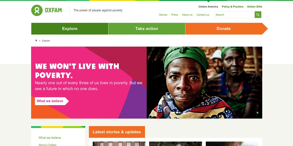 Oxfam Mezanine based website