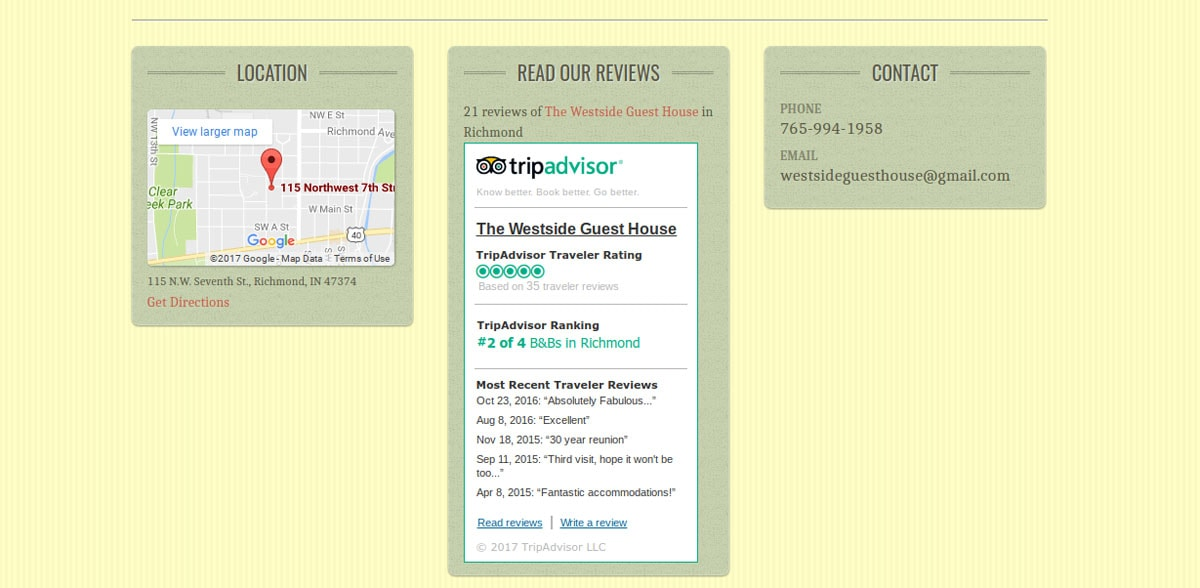 Screenshot of the West Side Guesthouse Website