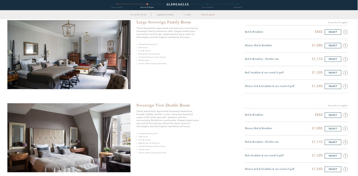 Screenshot of the Gleneagles Hotel Website