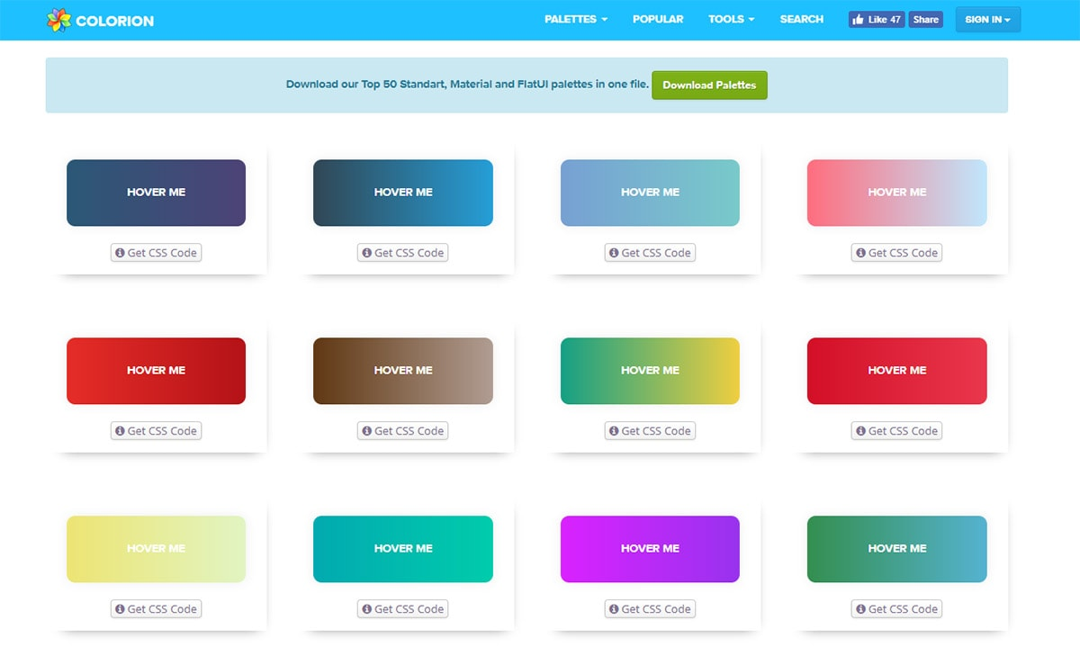 Gradients in web design trends examples resources for Web page color