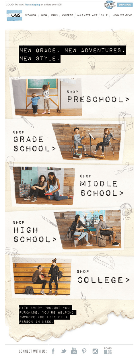 Toms 'Back to School' Email