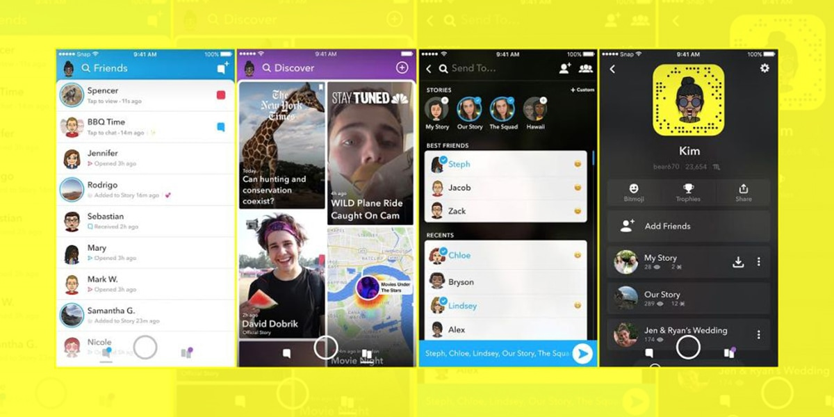 Snapchat redeseign new screens