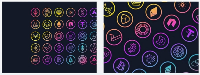 Cryptocurrency Gradient Logos