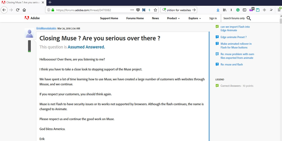 Screenshot of Adobe Muse forum