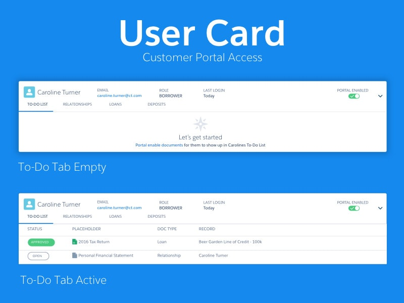 User Card Tabs