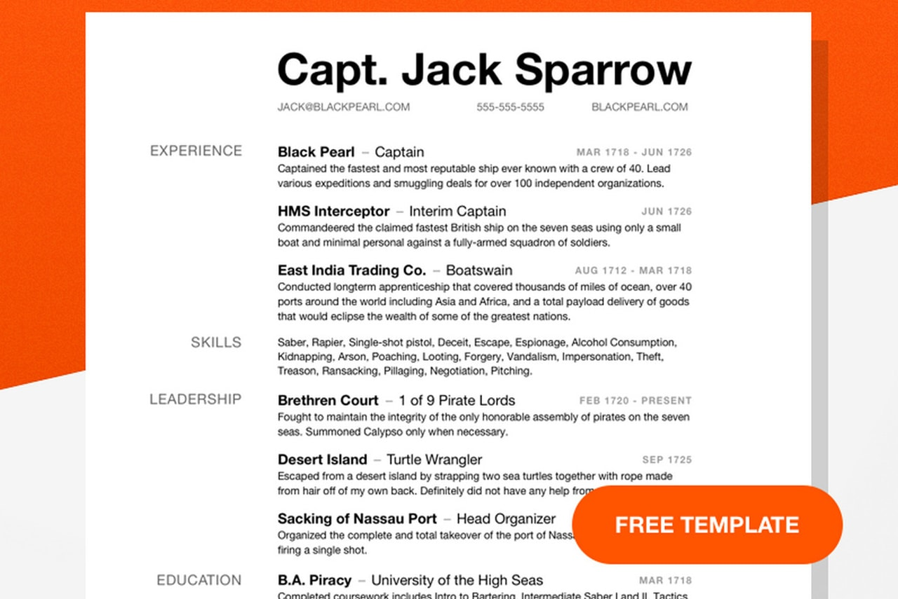 capt jack sparrow resume template