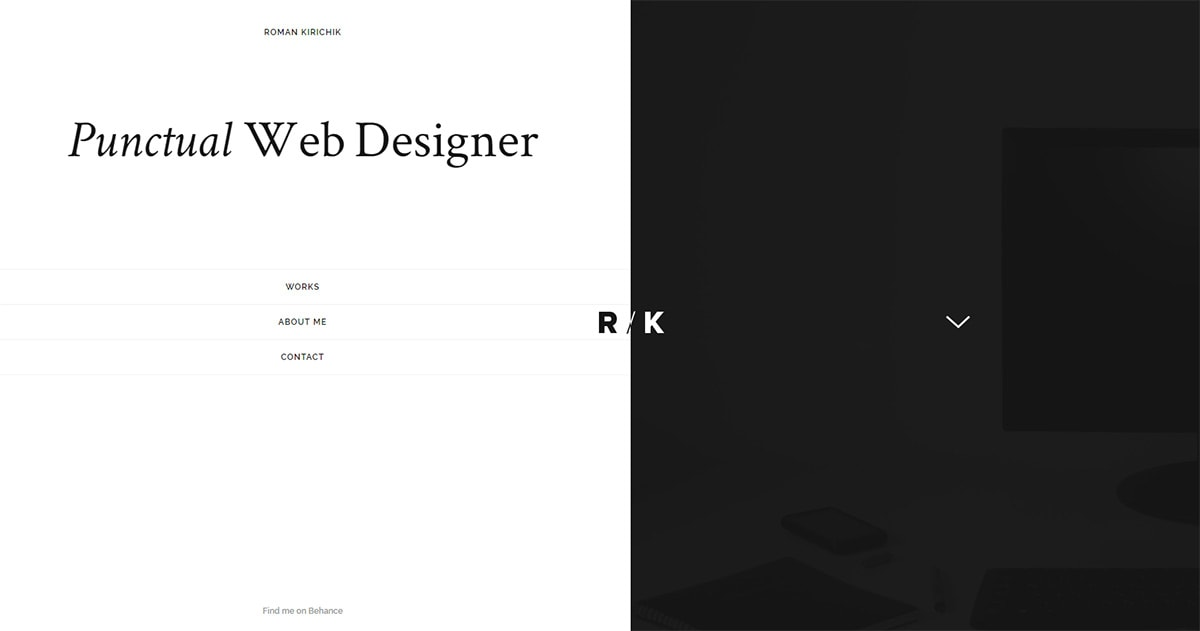 Vertical menu for portfolio
