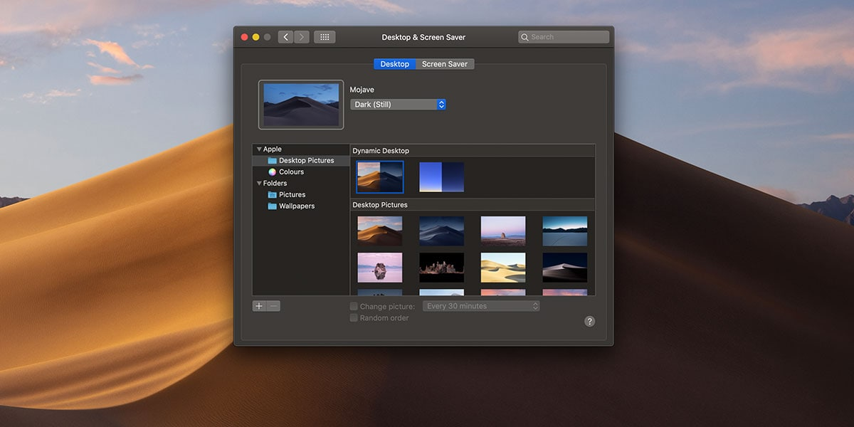 Mojave Active Desktoop Selection