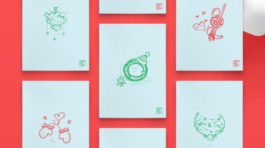 Hand Drawn New Year Postcards (Free PDF)