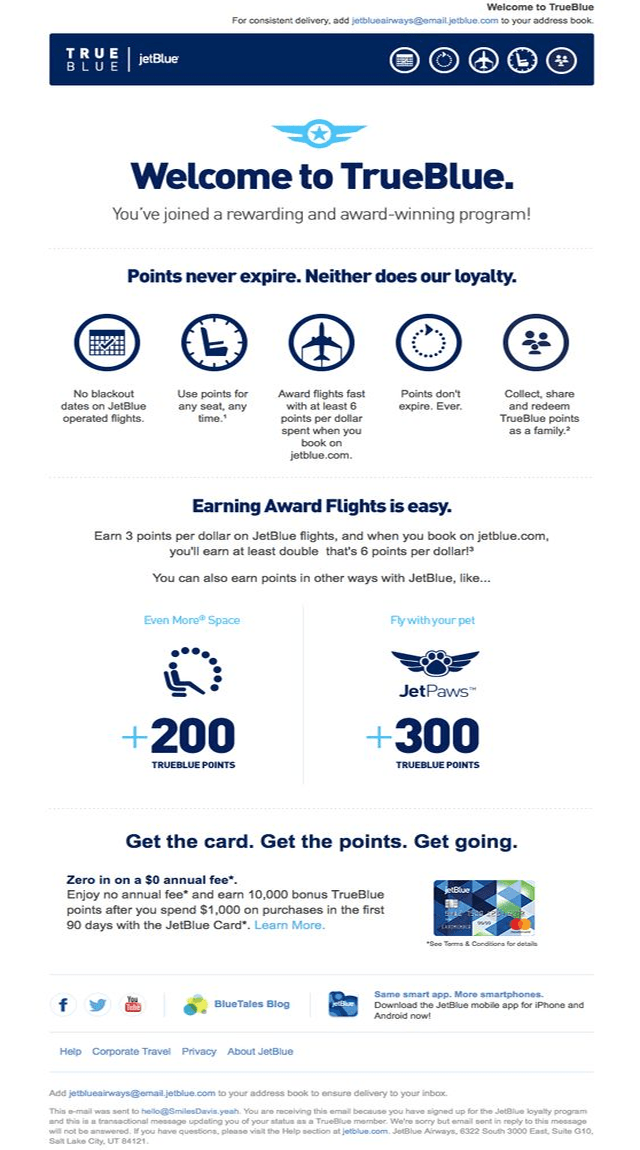 JetBlue Transactional Email