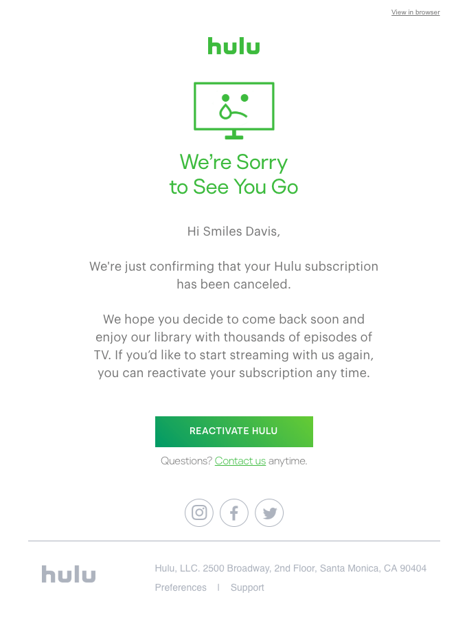Hulu subscription has been canceled