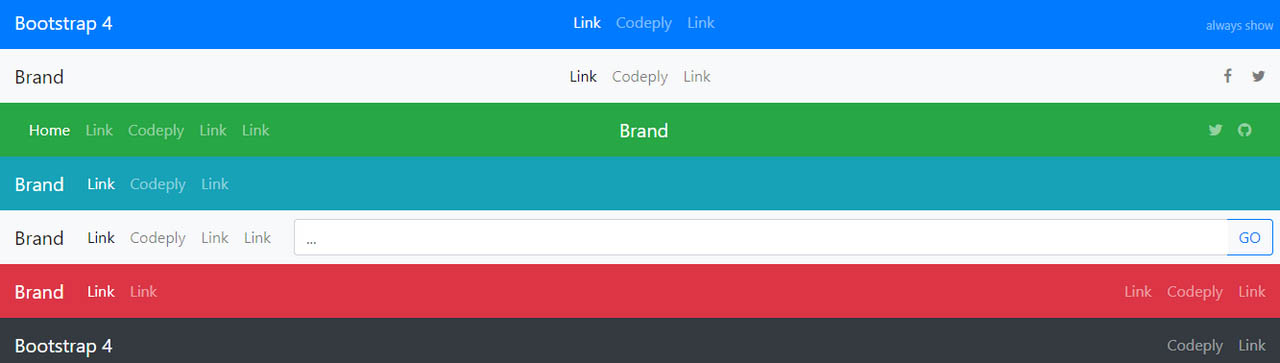 Free Bootstrap Navigation Examples