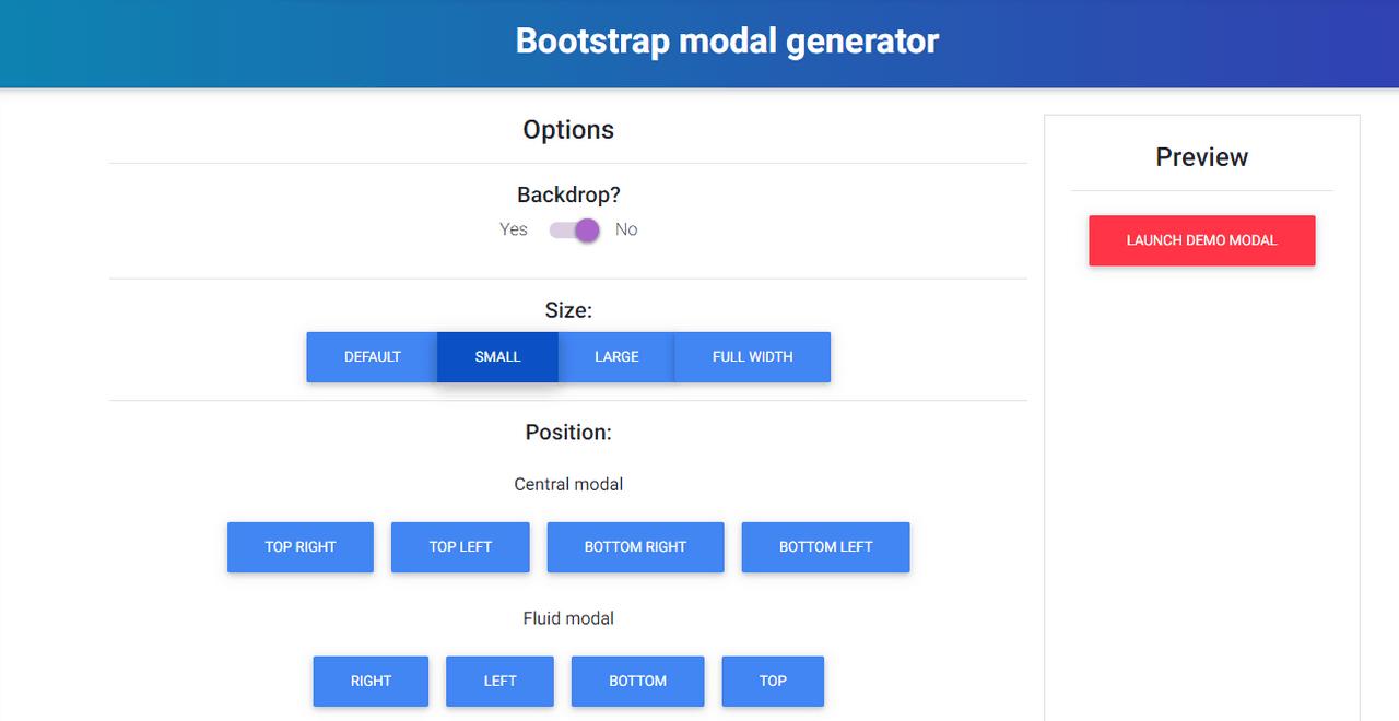 Bootstrap modal generator