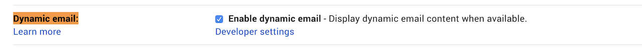 Enable dynamic email in gmail