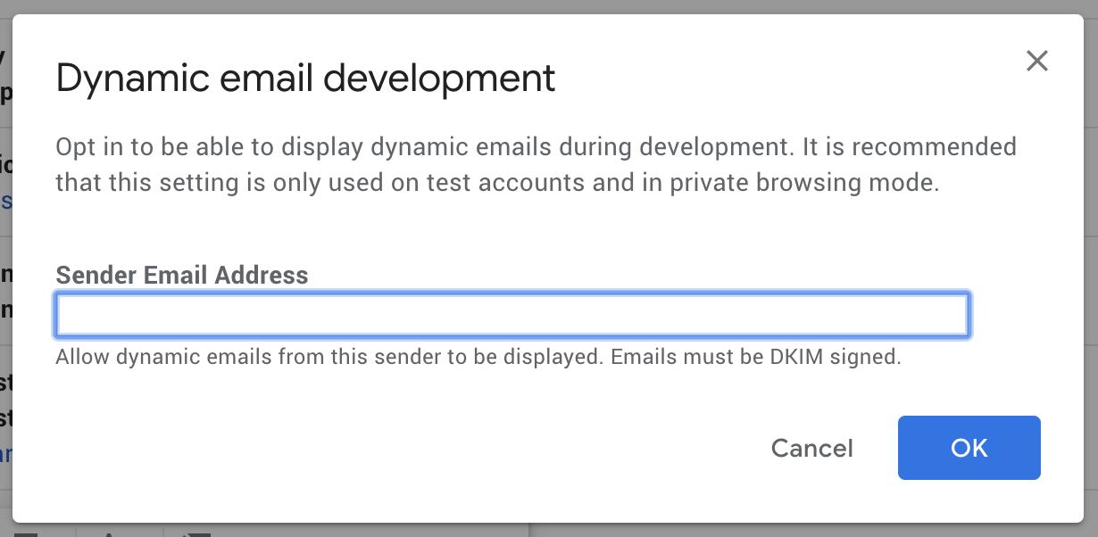 Amp Emails Developer Setting