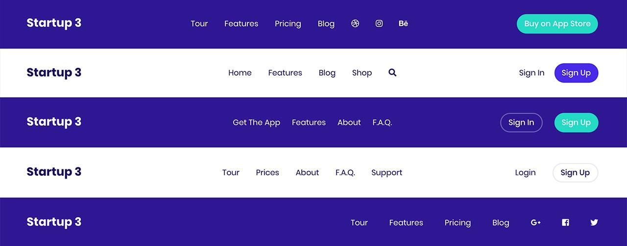 Startup Bootstrap Navigations
