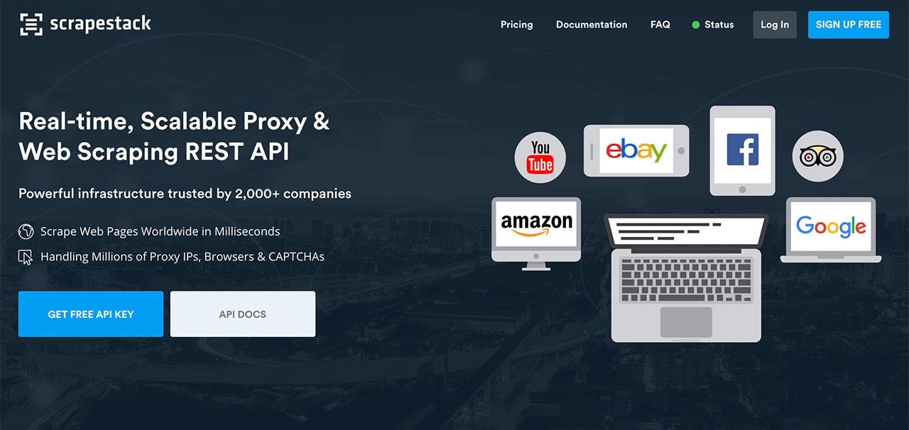 Scrapestack est une API gratuite de grattage du Web