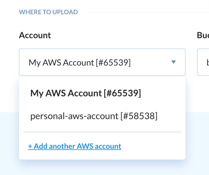 Buddy AWS Account Dropdown
