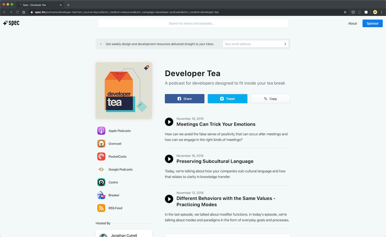 Podcasts for web developers