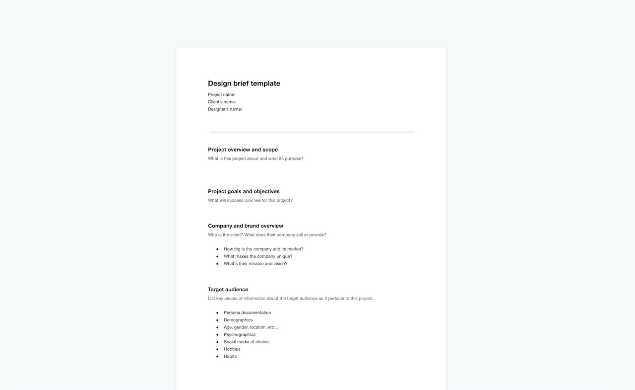 Download your free design brief template