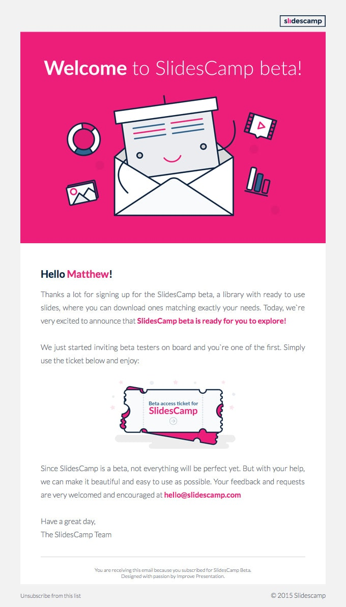 Examples of beta test emails