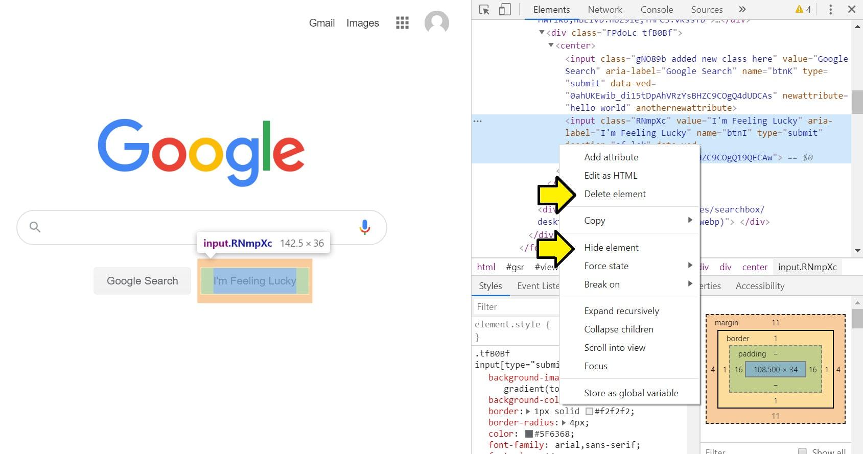 Chrome delete option