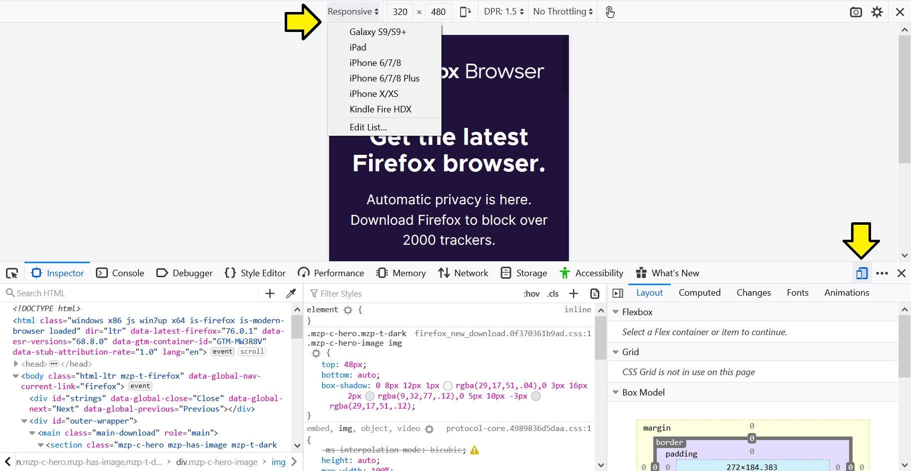Firefox screen size
