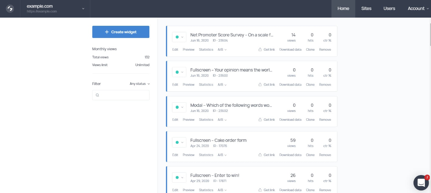 Getsitecontrol dashboard overview