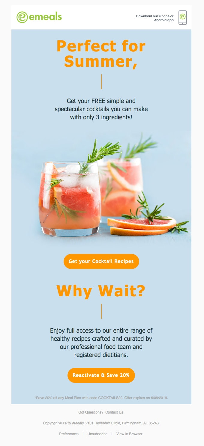 Summer Email from eMeals