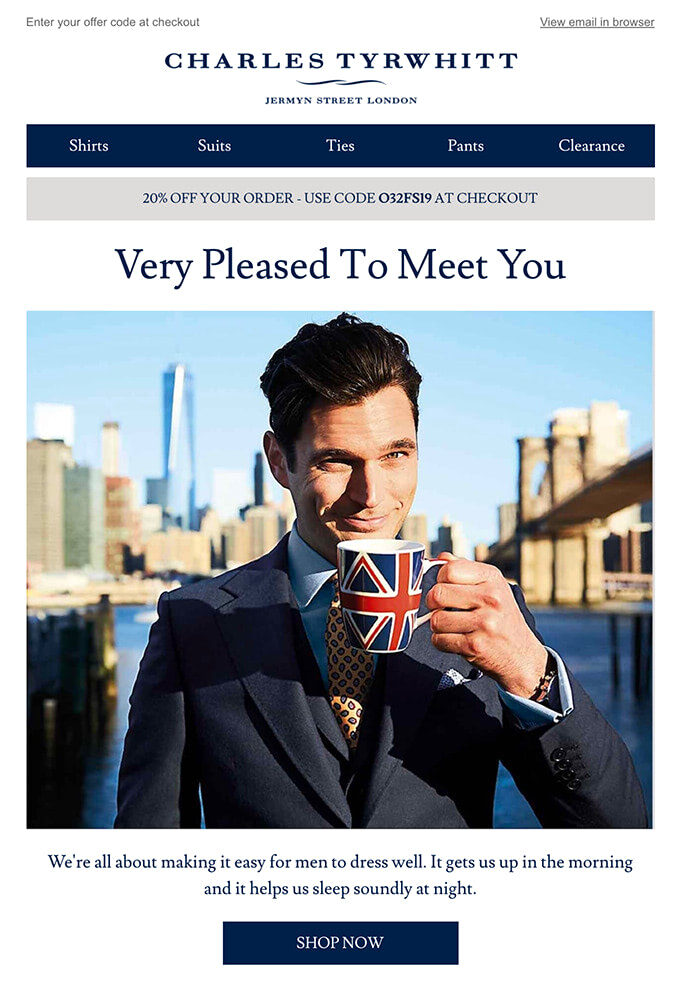 Welcome email from Charles Tyrwhitt
